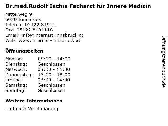 Dr.med.Rudolf Ischia in Innsbruck: Adresse und Öffnungszeiten