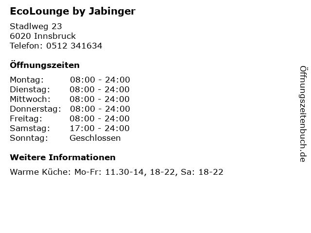 EcoLounge by Jabinger in Innsbruck: Adresse und Öffnungszeiten