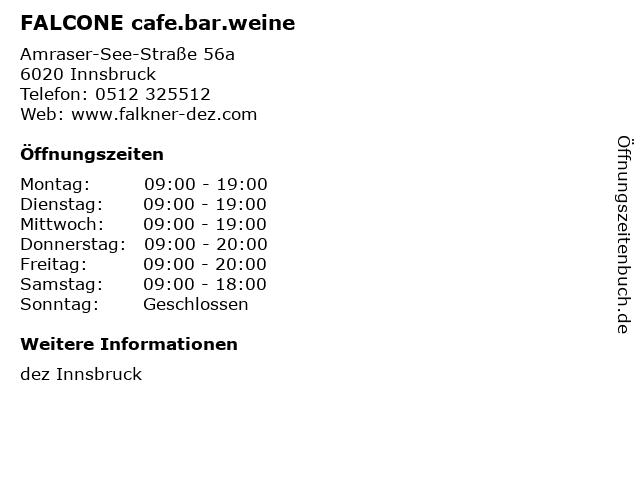 FALCONE cafe.bar.weine in Innsbruck: Adresse und Öffnungszeiten