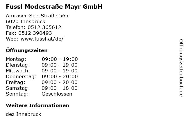 Fussl Modestraße Mayr GmbH in Innsbruck: Adresse und Öffnungszeiten