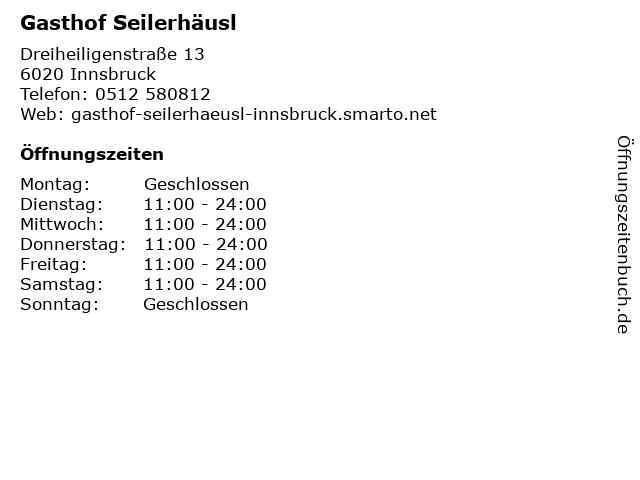 Gasthof Seilerhäusl in Innsbruck: Adresse und Öffnungszeiten
