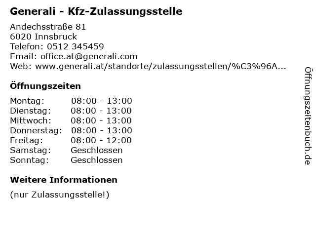 Generali - Kfz-Zulassungsstelle in Innsbruck: Adresse und Öffnungszeiten