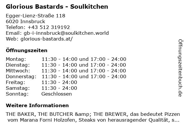 Glorious Bastards - Soulkitchen in Innsbruck: Adresse und Öffnungszeiten