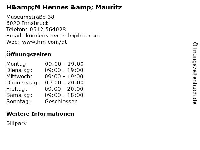 H&M Hennes & Mauritz in Innsbruck: Adresse und Öffnungszeiten