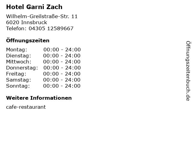 Hotel Garni Zach in Innsbruck: Adresse und Öffnungszeiten