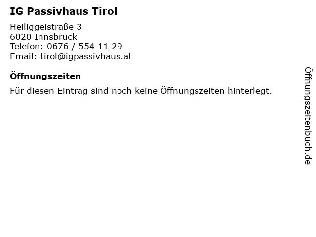 IG Passivhaus Tirol in Innsbruck: Adresse und Öffnungszeiten