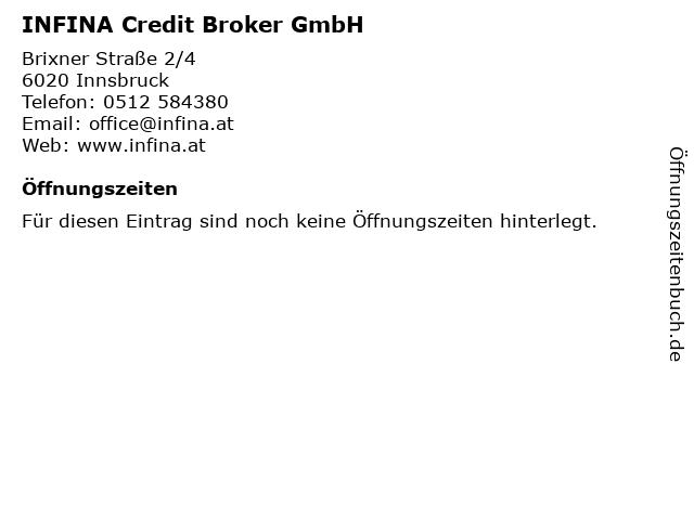 Infina Credit Broker GmbH in Innsbruck: Adresse und Öffnungszeiten