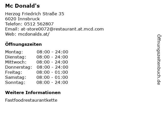 Mc Donald's in Innsbruck: Adresse und Öffnungszeiten