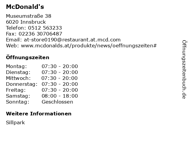 McDonald's in Innsbruck: Adresse und Öffnungszeiten