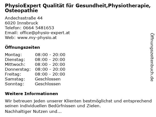 PhysioExpert Qualität für Gesundheit,Physiotherapie,Osteopathie in Innsbruck: Adresse und Öffnungszeiten