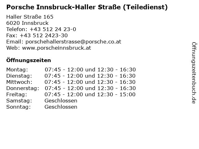 Porsche Innsbruck-Haller Straße (Teiledienst) in Innsbruck: Adresse und Öffnungszeiten