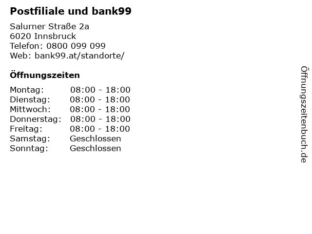 Postfiliale und bank99 in Innsbruck: Adresse und Öffnungszeiten