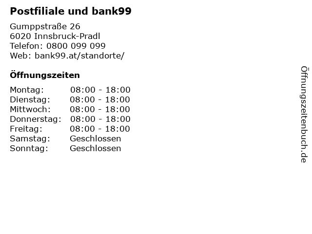 Postfiliale und bank99 in Innsbruck-Pradl: Adresse und Öffnungszeiten