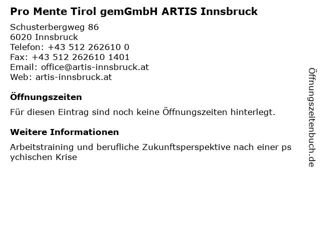 Pro Mente Tirol gemGmbH ARTIS Innsbruck in Innsbruck: Adresse und Öffnungszeiten