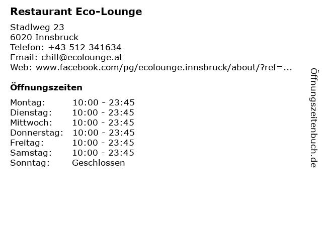 Restaurant Eco-Lounge in Innsbruck: Adresse und Öffnungszeiten