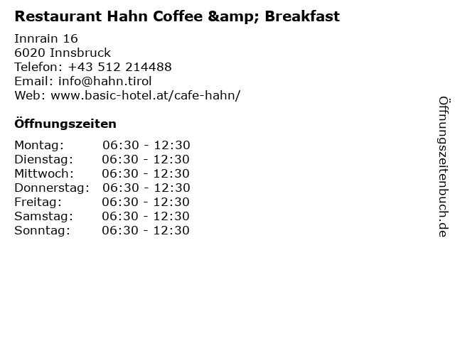 Restaurant Hahn Coffee & Breakfast in Innsbruck: Adresse und Öffnungszeiten