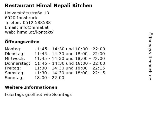 Restaurant Himal Nepali Kitchen in Innsbruck: Adresse und Öffnungszeiten
