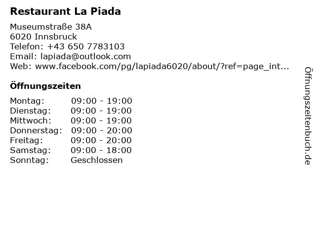 Restaurant La Piada in Innsbruck: Adresse und Öffnungszeiten