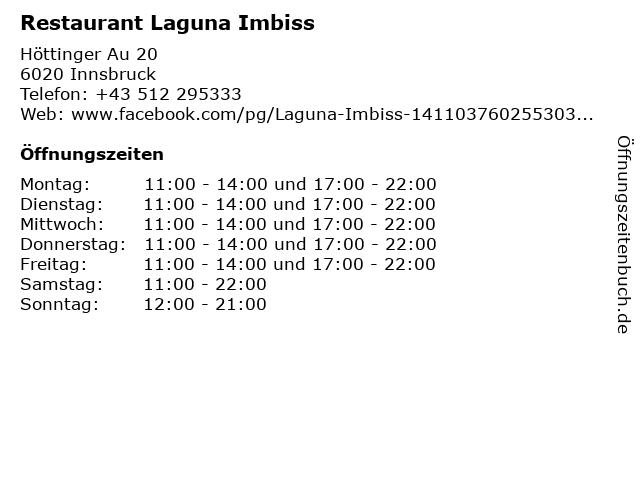 Restaurant Laguna Imbiss in Innsbruck: Adresse und Öffnungszeiten