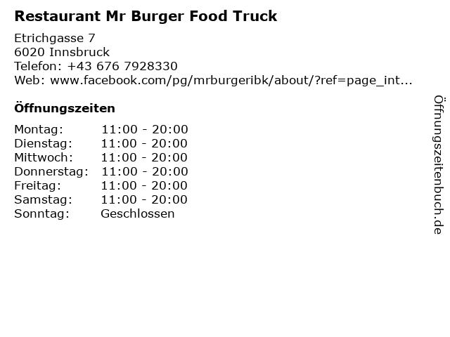 Restaurant Mr Burger Food Truck in Innsbruck: Adresse und Öffnungszeiten