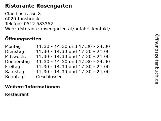 Ristorante Rosengarten in Innsbruck: Adresse und Öffnungszeiten