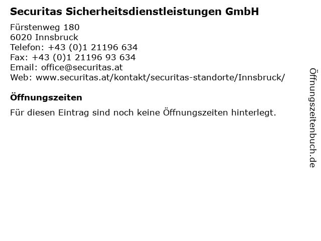 Securitas Sicherheitsdienstleistungen GmbH in Innsbruck: Adresse und Öffnungszeiten