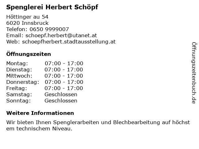Spenglerei Herbert Schöpf in Innsbruck: Adresse und Öffnungszeiten