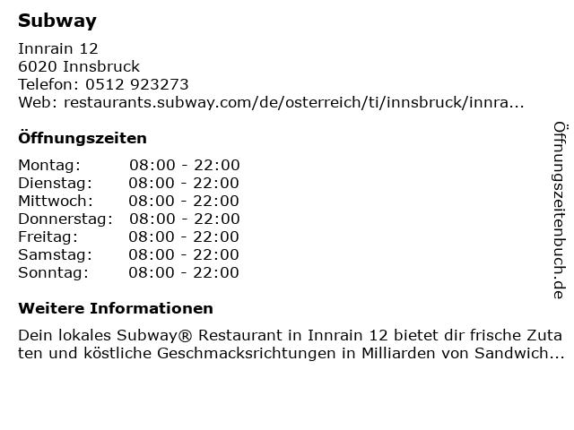Subway in Innsbruck: Adresse und Öffnungszeiten