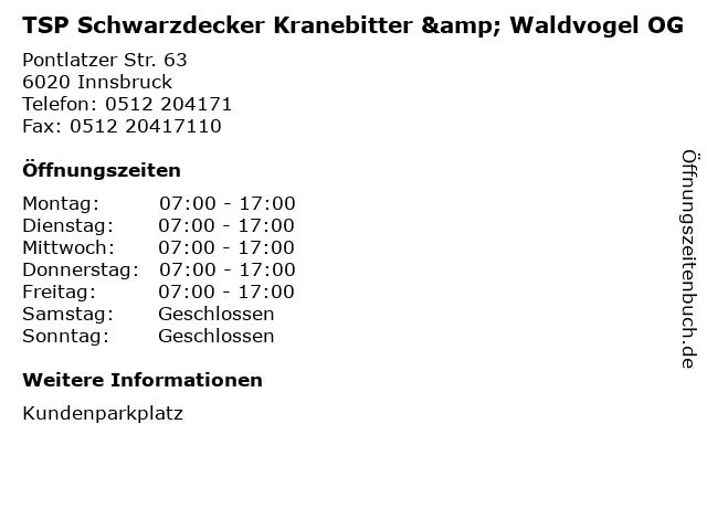 TSP Schwarzdecker Kranebitter & Waldvogel OG in Innsbruck: Adresse und Öffnungszeiten