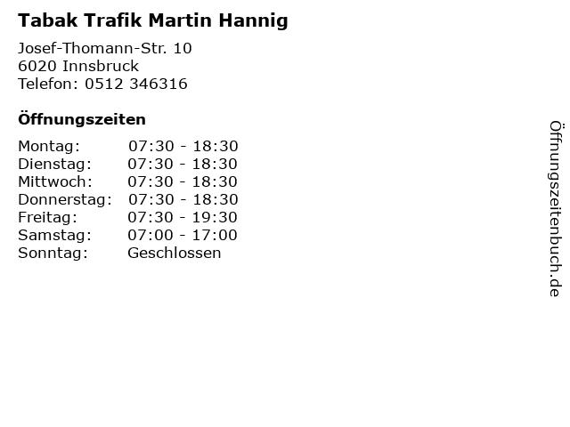 Tabak Trafik Martin Hannig in Innsbruck: Adresse und Öffnungszeiten