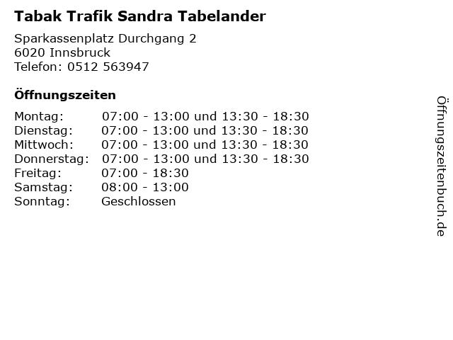 Tabak Trafik Sandra Tabelander in Innsbruck: Adresse und Öffnungszeiten
