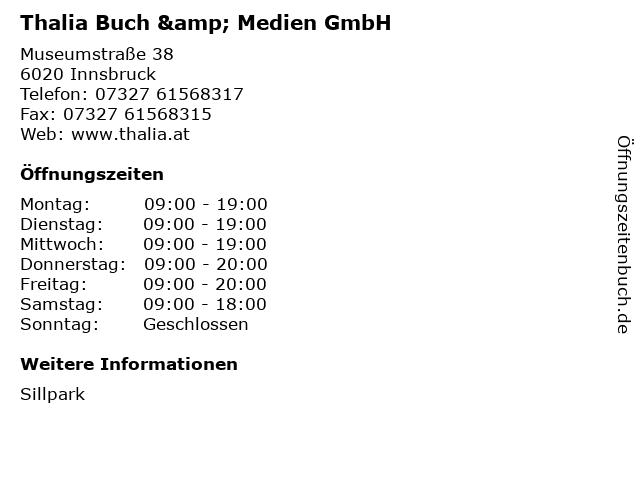 Thalia Buch & Medien GmbH in Innsbruck: Adresse und Öffnungszeiten