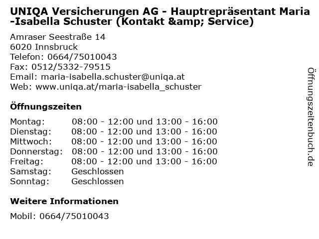 UNIQA Versicherungen AG - Hauptrepräsentant Maria-Isabella Schuster (Kontakt & Service) in Innsbruck: Adresse und Öffnungszeiten