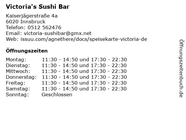 Victoria's Sushi Bar in Innsbruck: Adresse und Öffnungszeiten