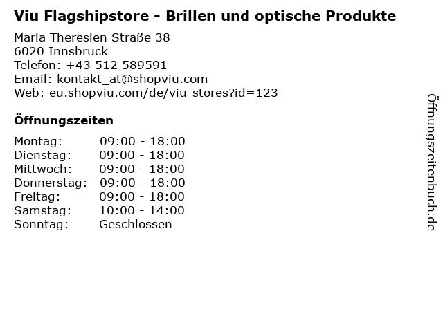 Viu Flagshipstore - Brillen und optische Produkte in Innsbruck: Adresse und Öffnungszeiten