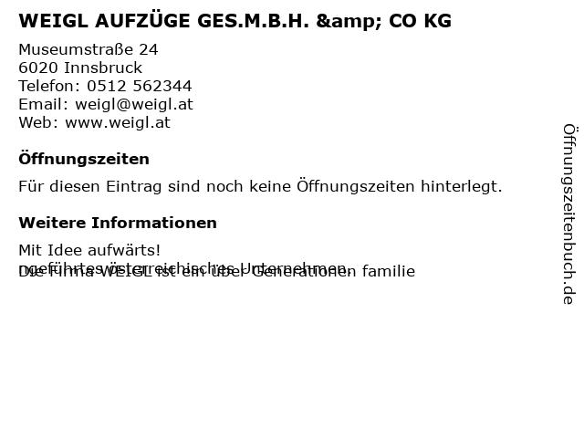 Weigl - Aufzüge GesmbH & Co KG in Innsbruck: Adresse und Öffnungszeiten