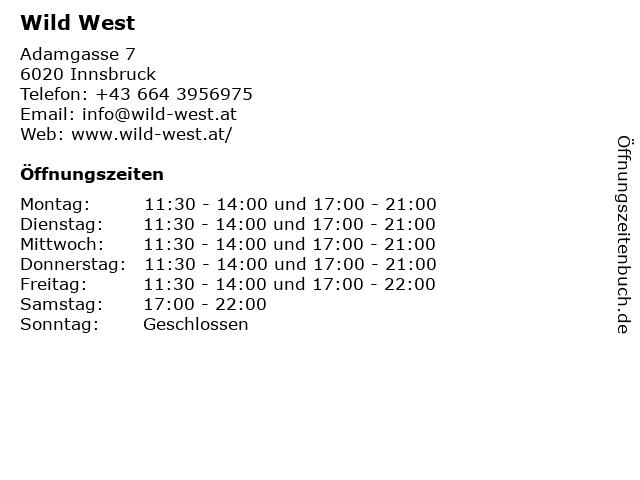 Wild West in Innsbruck: Adresse und Öffnungszeiten