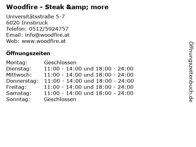 Woodfire - Steak & more in Innsbruck: Adresse und Öffnungszeiten