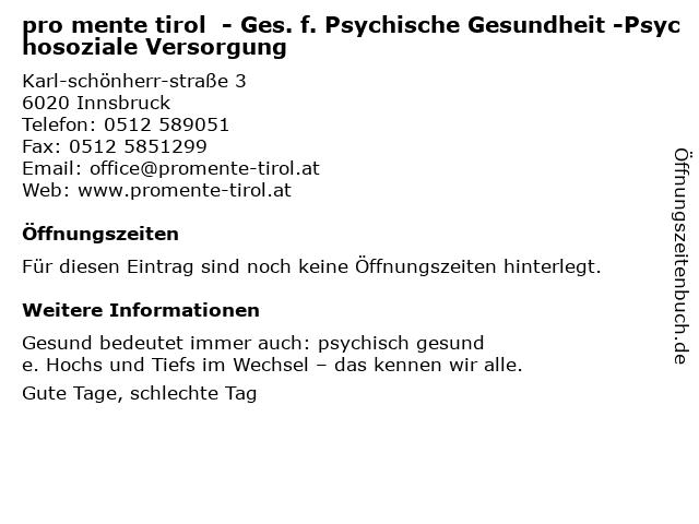 pro mente tirol gemGmbH - Ges. f. Psychische Gesundheit in Innsbruck: Adresse und Öffnungszeiten