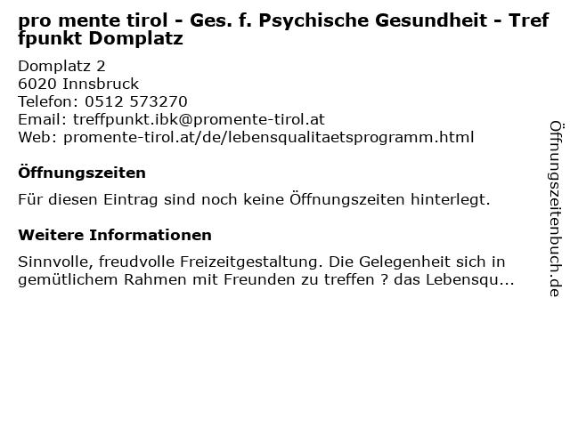 pro mente tirol - Ges. f. Psychische Gesundheit - Treffpunkt Domplatz in Innsbruck: Adresse und Öffnungszeiten