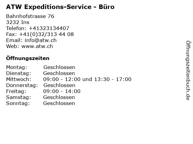 ATW Expeditions-Service - Büro in Ins: Adresse und Öffnungszeiten