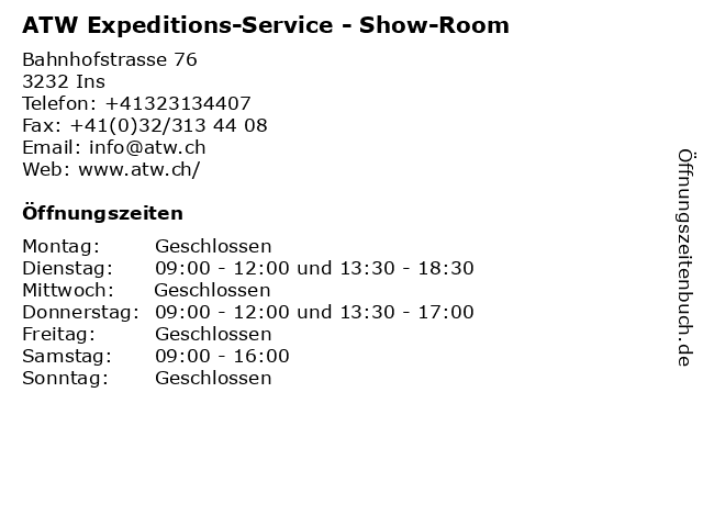 ATW Expeditions-Service - Show-Room in Ins: Adresse und Öffnungszeiten