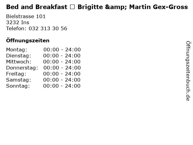 Bed and Breakfast ★ Brigitte & Martin Gex-Gross in Ins: Adresse und Öffnungszeiten