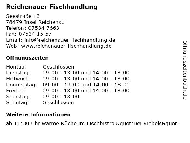 Reichenauer Fischhandlung in Insel Reichenau: Adresse und Öffnungszeiten