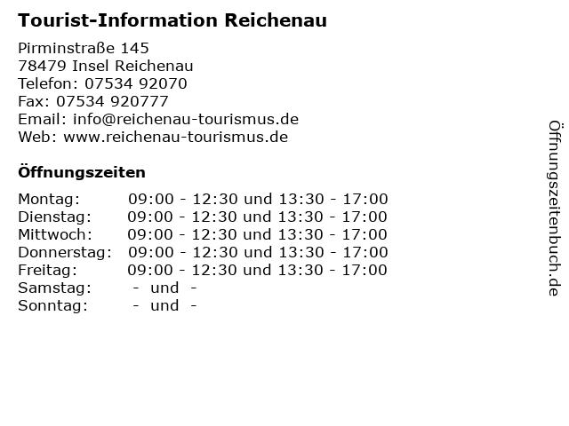 Tourist-Information Reichenau in Insel Reichenau: Adresse und Öffnungszeiten