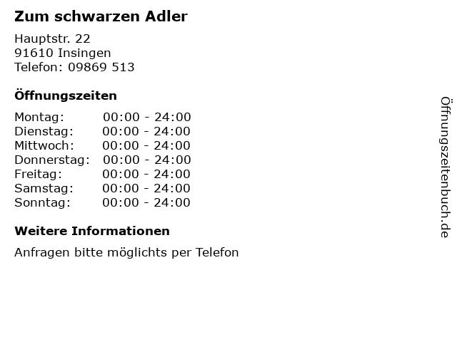 Zum schwarzen Adler in Insingen: Adresse und Öffnungszeiten