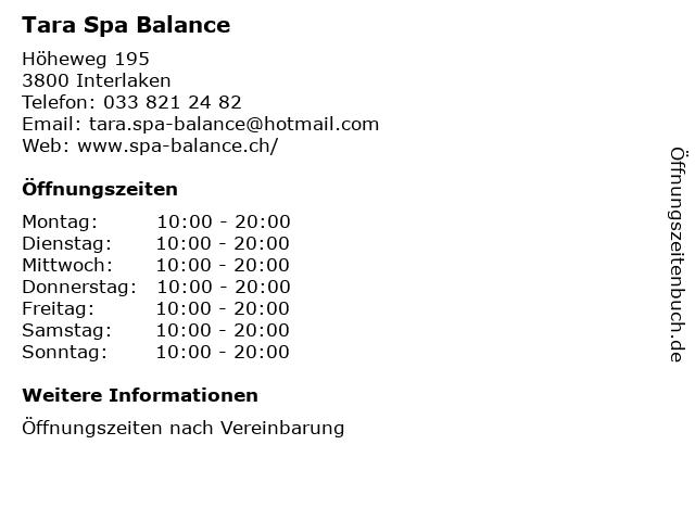 Tara Spa Balance in Interlaken: Adresse und Öffnungszeiten
