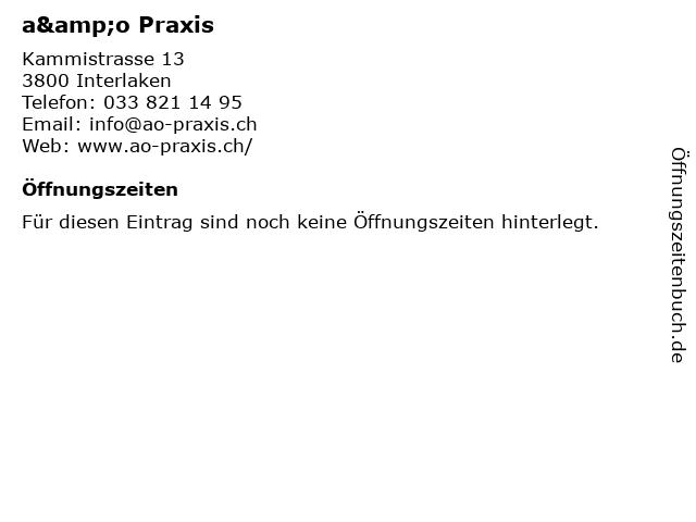 a&o Praxis in Interlaken: Adresse und Öffnungszeiten