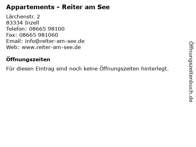 Appartements - Reiter am See in Inzell: Adresse und Öffnungszeiten