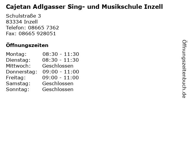 Cajetan Adlgasser Sing- und Musikschule Inzell in Inzell: Adresse und Öffnungszeiten